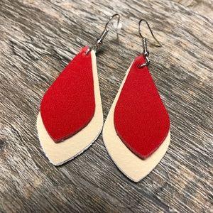 Red beige boho leather earrings Nwt